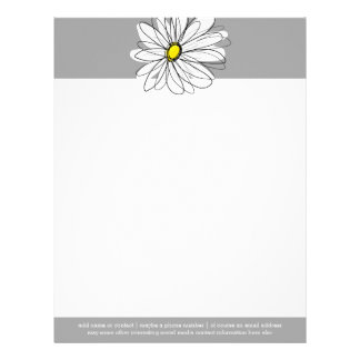 Trendy Daisy with gray and yellow Letterhead