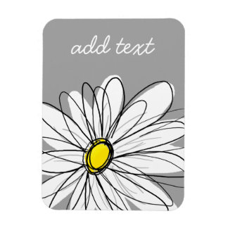 Trendy Daisy with gray and yellow Magnet