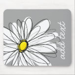 """Trendy Daisy with gray and yellow Mouse Pad<br><div class=""""desc"""">A zen and whimsical,  hipster piece of art. You can add a name,  monogram or other custom text. If you need to move the art around,  click on the customize button to make changes.</div>"""