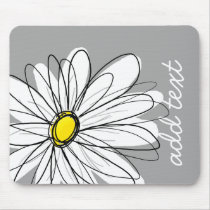 Trendy Daisy with gray and yellow Mouse Pad