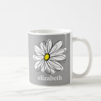 Trendy Daisy with gray and yellow Classic White Coffee Mug