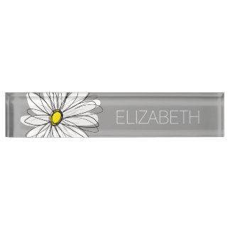 Trendy Daisy with gray and yellow Desk Nameplates