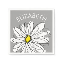 Trendy Daisy with gray and yellow Paper Napkin