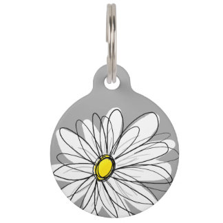 Trendy Daisy with gray and yellow Pet Nametag