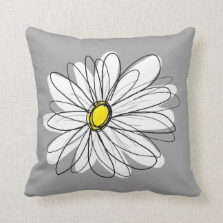 Trendy Daisy with gray and yellow Pillow
