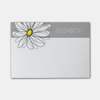 Trendy Daisy with gray and yellow Post-it Notes