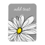 Trendy Daisy with gray and yellow Rectangular Photo Magnet