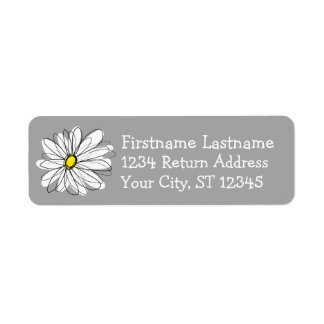 Trendy Daisy with gray and yellow Return Address Label