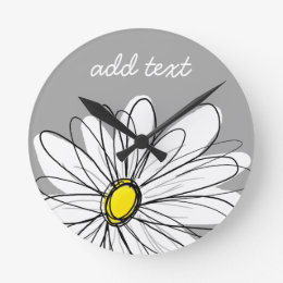 Trendy Daisy with gray and yellow Round Clock