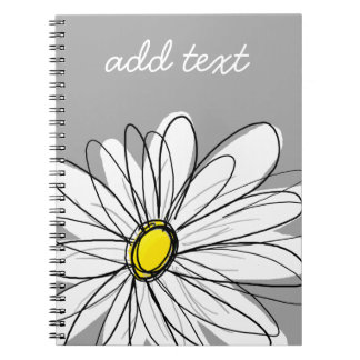 Trendy Daisy with gray and yellow Spiral Notebook