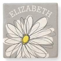 Trendy Daisy with gray and yellow Stone Coaster