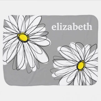 Trendy Daisy with gray and yellow Stroller Blanket