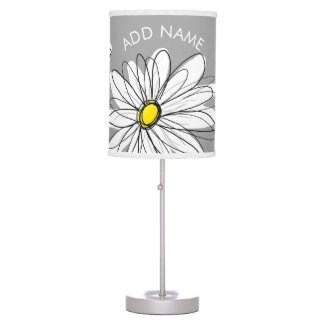 Trendy Daisy with gray and yellow Table Lamp