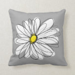 "Trendy Daisy with gray and yellow Throw Pillow<br><div class=""desc"">A zen and whimsical,  hipster piece of art. You can add a name,  monogram or other custom text. If you need to move the art around,  click on the customize button to make changes.</div>"