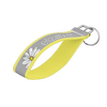 Trendy Daisy with gray and yellow Wrist Keychain