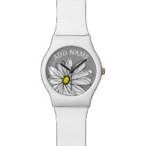 Trendy Daisy with gray and yellow Wristwatch