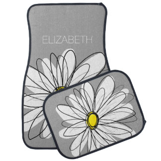 Trendy Daisy with gray and yellow Floor Mat