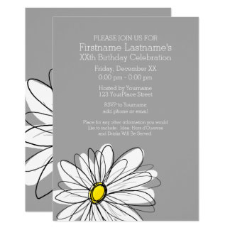Trendy Daisy with gray yellow Birthday Party Card