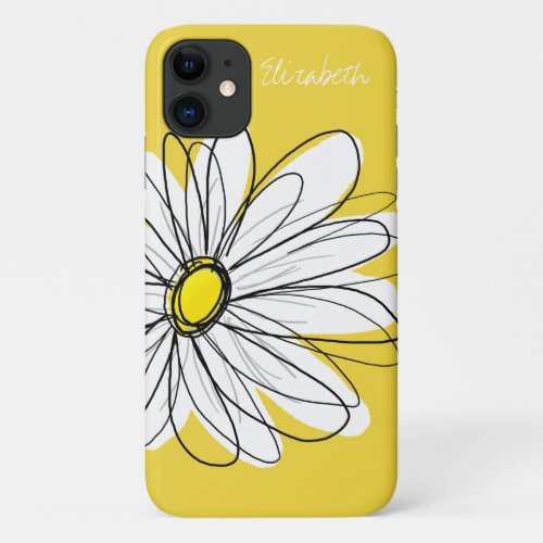 Trendy Daisy with Signature - yellow Phone Case