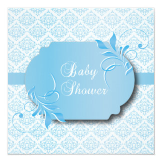 Trendy Damask and Blue for a Baby Shower Card