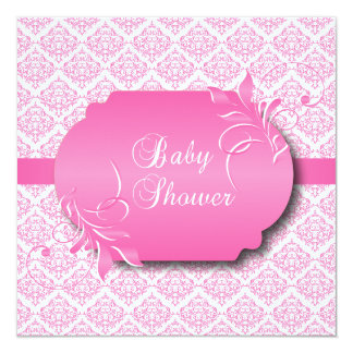 Trendy Damask and Pink for a Baby Shower Card