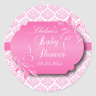 Trendy Damask and Pink for a Baby Shower Classic Round Sticker