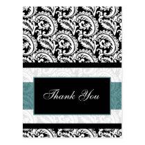 trendy damask aqua  ThankYou Cards