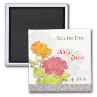 Trendy Damask + Asian Peonies Save the Date 2 Inch Square Magnet