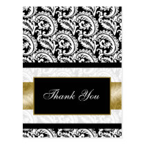 trendy damask gold ThankYou Cards