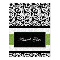 trendy damask green ThankYou Cards