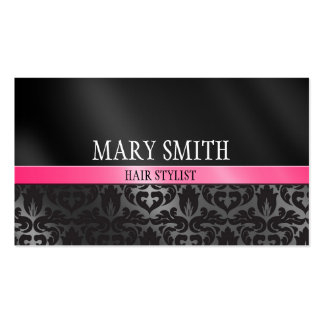 Trendy Damask Pink and Black Business Card 2 Sided