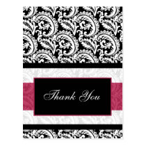 trendy damask pink ThankYou Cards