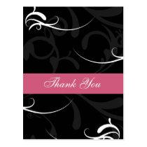 trendy damask pink ThankYou Cards