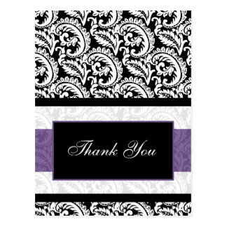 trendy damask purple  ThankYou Cards