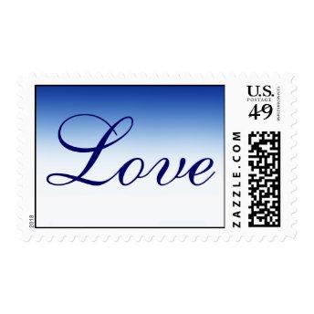 Trendy Dark Blue Calligraphy Love Wedding Postage