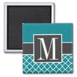 Trendy Dark Turquoise Quatrefoil 2 Inch Square Magnet