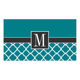 Trendy Dark Turquoise Quatrefoil Business Card Templates
