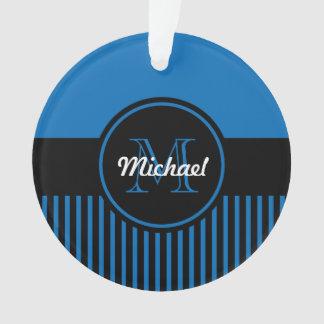 Trendy Dazzling Blue Black Stripes Monogram Circle
