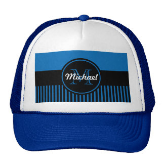 Trendy Dazzling Blue Black Stripes Monogram Circle Trucker Hats