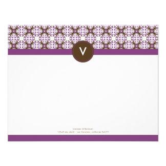 Trendy Decorative Flat Note Cards (lavender) Custom Invitations