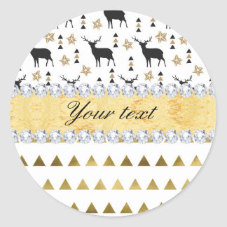 Trendy Deer Triangles Pattern and Diamonds Classic Round Sticker