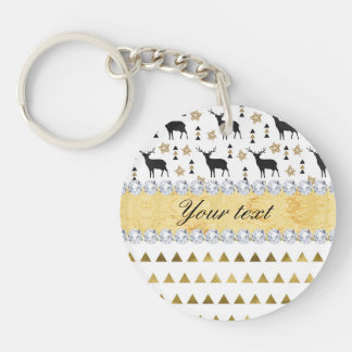 Trendy Deer Triangles Pattern and Diamonds Keychain
