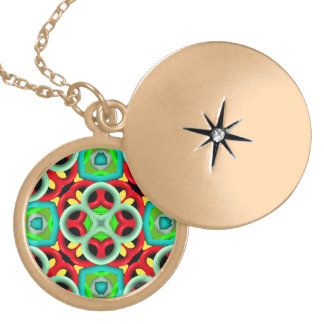 Trendy different abstract pattern round locket necklace