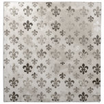Trendy Distressed Silver Grey Fleur De Lis Pattern Cloth Napkin