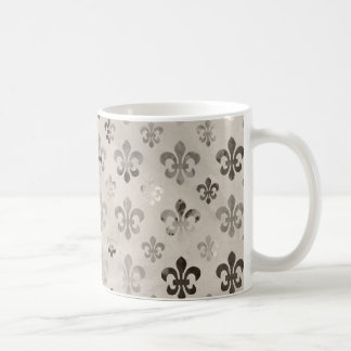 Trendy Distressed Silver Grey Fleur De Lis Pattern Coffee Mug