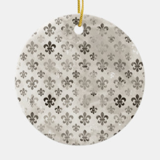 Trendy Distressed Silver Grey Fleur De Lis Pattern Double-Sided Ceramic Round Christmas Ornament