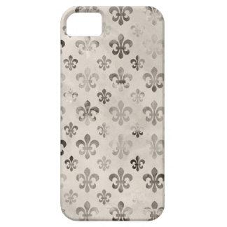 Trendy Distressed Silver Grey Fleur De Lis Pattern iPhone SE/5/5s Case