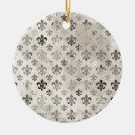 Trendy Distressed Silver Grey Fleur De Lis Pattern Ornaments