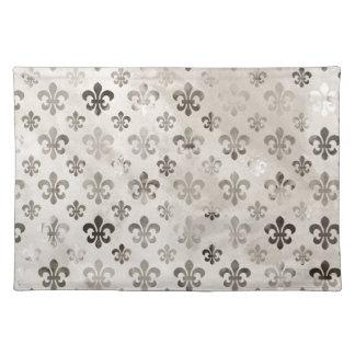 Trendy Distressed Silver Grey Fleur De Lis Pattern Placemat