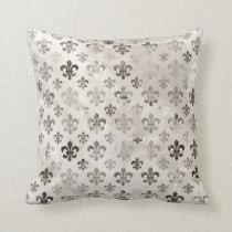 Trendy Distressed Silver Grey Fleur De Lis Pattern Throw Pillow